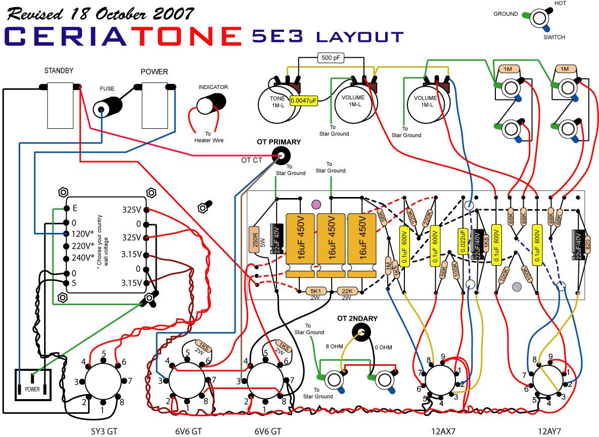 Tweed Deluxe 5E3 Layout da Ceriatone